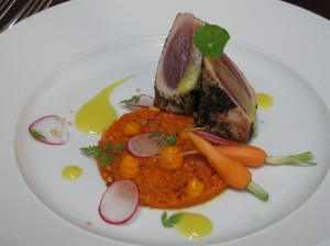 Nori Crusted Yellowfin Tuna with a Baby Carrot and Radish Tartar Togarashi Pineapple Coulis and Petite Nasturtium Leaves